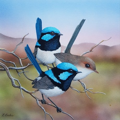 (CreativeWork) The Boys in Blue by Lyn Cooke. Watercolour Paint. Shop online at Bluethumb.