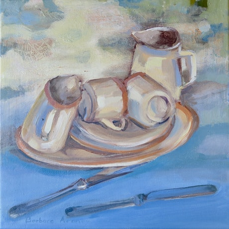 (CreativeWork) In Transition - retro crockery by Barbara Aroney. Oil Paint. Shop online at Bluethumb.