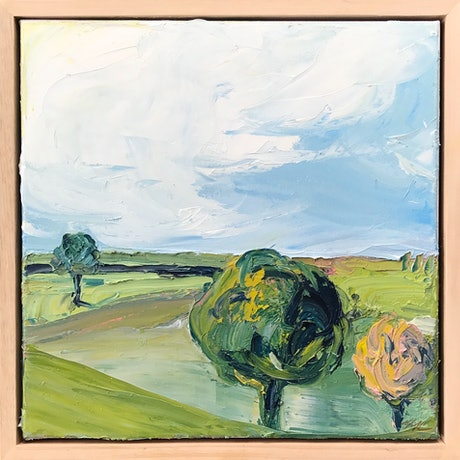 (CreativeWork) Green Fields Forever by Marnie McKnight. Oil Paint. Shop online at Bluethumb.