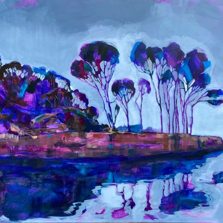 (CreativeWork) Clark Island II by Kate Gradwell. Acrylic Paint. Shop online at Bluethumb.