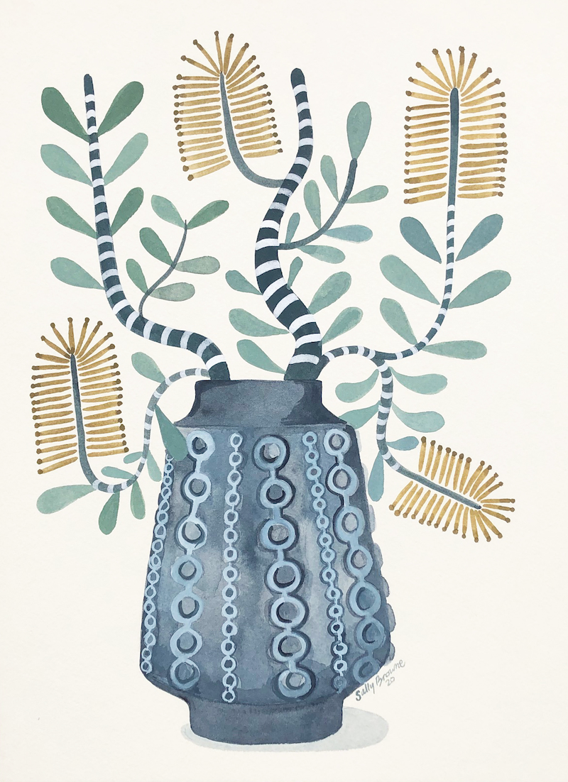(CreativeWork) Coastal Banksia in Retro Vase 2020 by Sally Browne. Watercolour Paint. Shop online at Bluethumb.