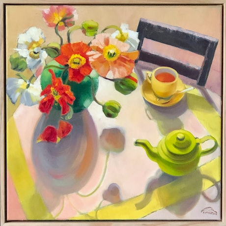 (CreativeWork) Still life with poppies and shadows (framed original) by kirsty mcintyre. Oil Paint. Shop online at Bluethumb.