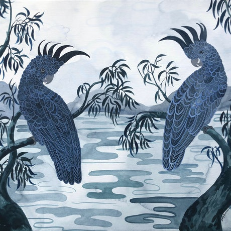 (CreativeWork) Indigo Cockatoo Billabong by Sally Browne. Watercolour Paint. Shop online at Bluethumb.