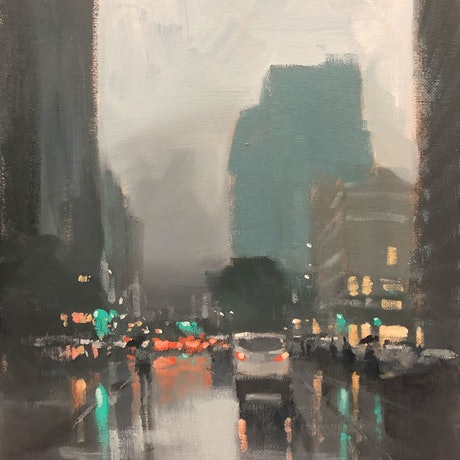 (CreativeWork) Evening Rain - rainy cityscape painting by Mike Barr. Acrylic Paint. Shop online at Bluethumb.