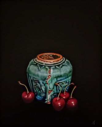 (CreativeWork) Ginger Jar with Cherries by Jenny Albanis. Acrylic Paint. Shop online at Bluethumb.