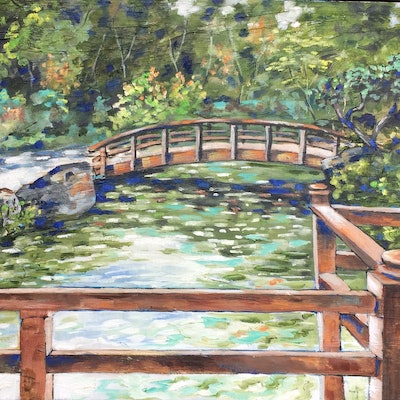 (CreativeWork) Gosford Edogawa Commemorative garden 1 by sue bannister. Oil Paint. Shop online at Bluethumb.