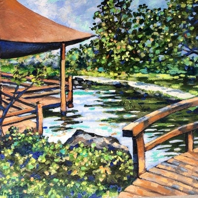 (CreativeWork) Gosford Edogawa Commemorative garden by sue bannister. Oil Paint. Shop online at Bluethumb.