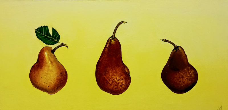 (CreativeWork) Trio of Pears by Jenny Albanis. Acrylic Paint. Shop online at Bluethumb.