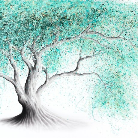 (CreativeWork) Mint Dream Tree by Ashvin Harrison. Acrylic Paint. Shop online at Bluethumb.