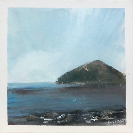 (CreativeWork) Shallows near the bluff - seascape by Tina Barr. Acrylic Paint. Shop online at Bluethumb.