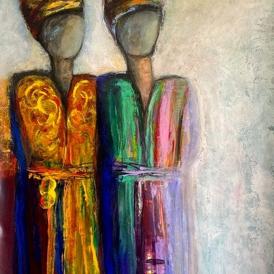 (CreativeWork) TWO WOMEN TREAD  by Tracey Berthold. Mixed Media. Shop online at Bluethumb.