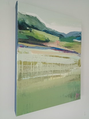 (CreativeWork) A LAYERED LANDSCAPE by Karen McPhee. Acrylic Paint. Shop online at Bluethumb.