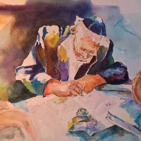 (CreativeWork) JEWISH SCHOLAR by Frances Swan. Watercolour Paint. Shop online at Bluethumb.