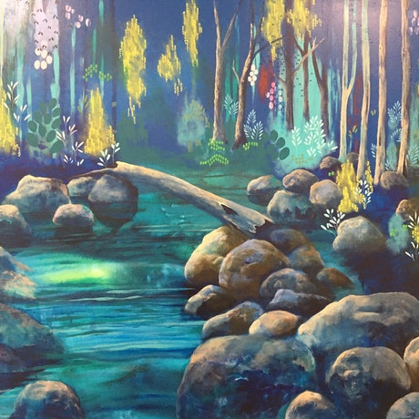 (CreativeWork) Silverbark Bridge  by Leah Doeland. Acrylic Paint. Shop online at Bluethumb.