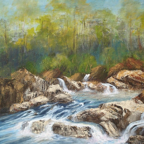 (CreativeWork) Rolling Rapids by Jennifer Beresford. Acrylic Paint. Shop online at Bluethumb.