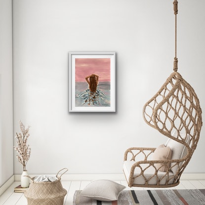 (CreativeWork) In the Moment - Framed in White by Alanah Jarvis. Acrylic Paint. Shop online at Bluethumb.