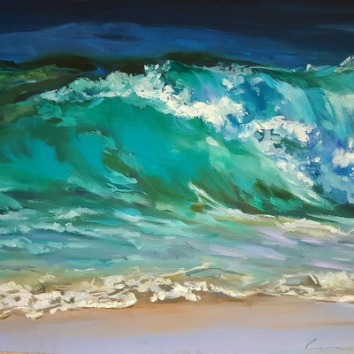 (CreativeWork) Wave Majesty by Carmen McFaull. Oil Paint. Shop online at Bluethumb.