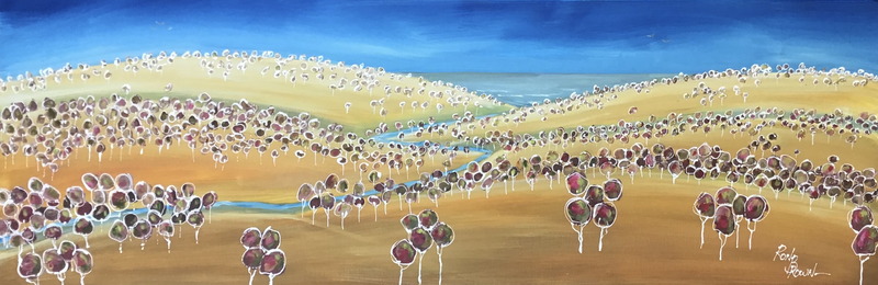 (CreativeWork) The winding creek  by Ron Brown. Acrylic Paint. Shop online at Bluethumb.