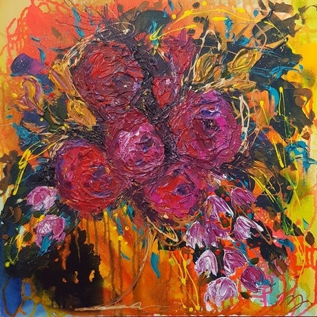 (CreativeWork) Raspberry Beret by Michelle Murphy. Acrylic Paint. Shop online at Bluethumb.