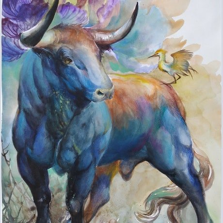 (CreativeWork) BULL II by Doudou Huang. Watercolour Paint. Shop online at Bluethumb.
