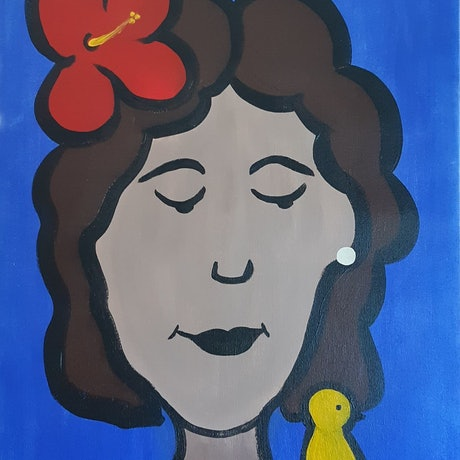 (CreativeWork) The Bird with the Bird by Ann Perrot. Acrylic Paint. Shop online at Bluethumb.
