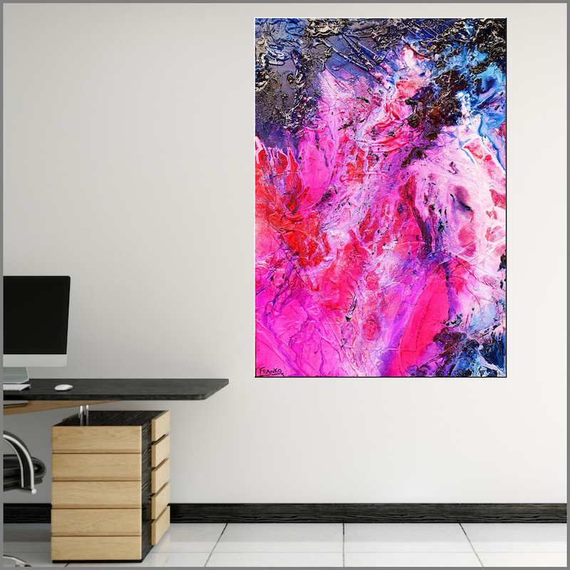 (CreativeWork) Atomic Ninja 140cm x 100cm Pink Texture Ink Acrylic Gloss Finish Abstract by _Franko _. Acrylic Paint. Shop online at Bluethumb.
