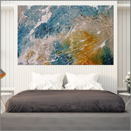 (CreativeWork) Midnight Denim 160cm x 100cm  Blue Cream Texture Ink Acrylic Gloss Finish Abstract by _Franko _. Acrylic Paint. Shop online at Bluethumb.