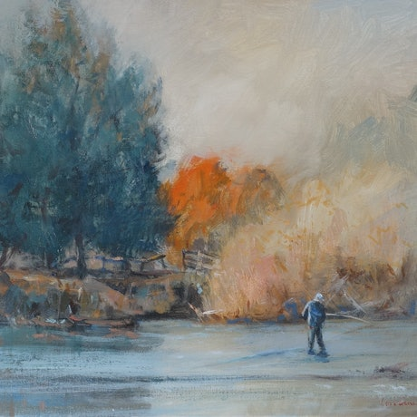 (CreativeWork) Trout Fishing, Tasmania by Lorraine Lewitzka. Acrylic Paint. Shop online at Bluethumb.