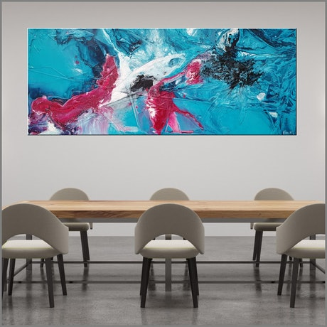(CreativeWork) Teal & Magenta 200cm x 80cm Blue Pink Texture Ink Acrylic Gloss Finish Abstract by _Franko _. Acrylic Paint. Shop online at Bluethumb.