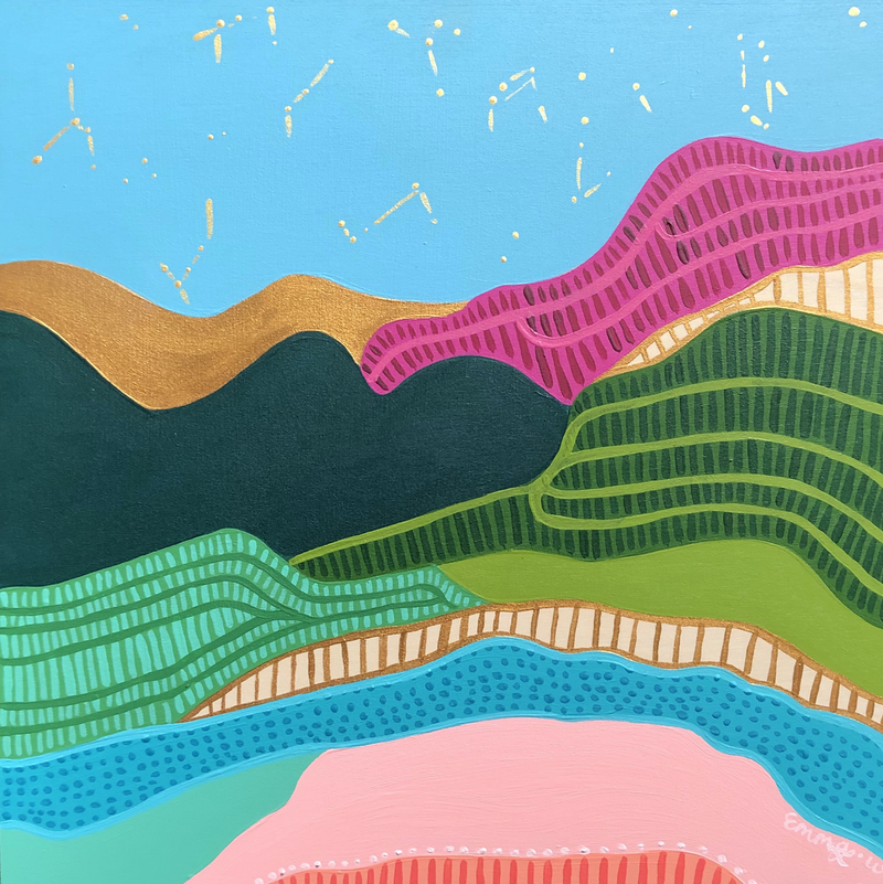 (CreativeWork) Rainbow hills - abstract landscape by emma whitelaw. Acrylic Paint. Shop online at Bluethumb.