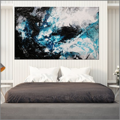 (CreativeWork) Moody Southern Ocean 160cm x 100cm Blue Black Texture Ink Acrylic Gloss Finish Abstract by _Franko _. Mixed Media. Shop online at Bluethumb.