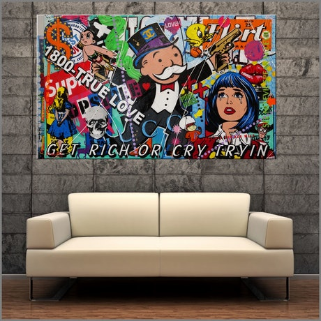 (CreativeWork) Still Cryin Over Money 160cm x 100cm Monopoly Man Urban Pop Art Textured Acrylic Gloss Finish FRANKO by _Franko _. Mixed Media. Shop online at Bluethumb.