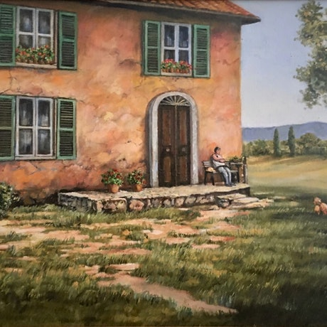 (CreativeWork) Tuscan Farmhouse by Kerry Doran. Oil Paint. Shop online at Bluethumb.