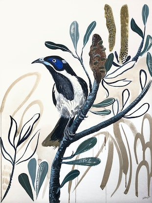 (CreativeWork) Blue Faced Honey Eater by Sally Browne. Watercolour Paint. Shop online at Bluethumb.