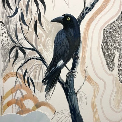 (CreativeWork) Currawong Sing -a-long by Sally Browne. Mixed Media. Shop online at Bluethumb.
