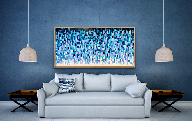 (CreativeWork) Storm 183x93 framed large textured abstract  by Sophie Lawrence. Acrylic Paint. Shop online at Bluethumb.