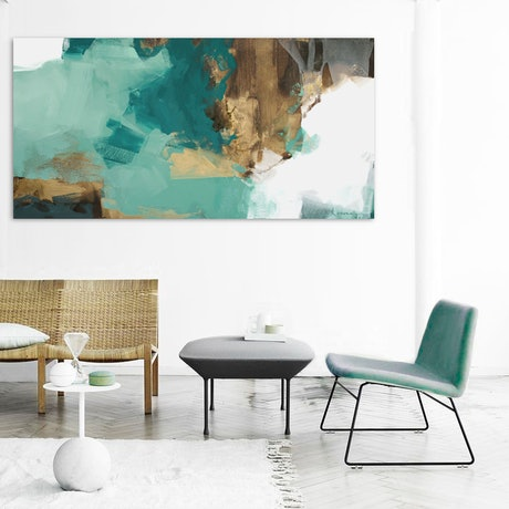 (CreativeWork) Chiara - large, green, grey, gold abstract by Stephanie Laine. Acrylic Paint. Shop online at Bluethumb.