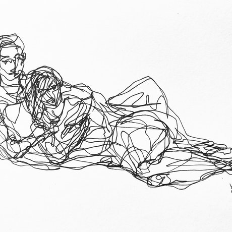 (CreativeWork) Don't Let Go - I feel safe in your arms by Irma Calabrese. Drawings. Shop online at Bluethumb.