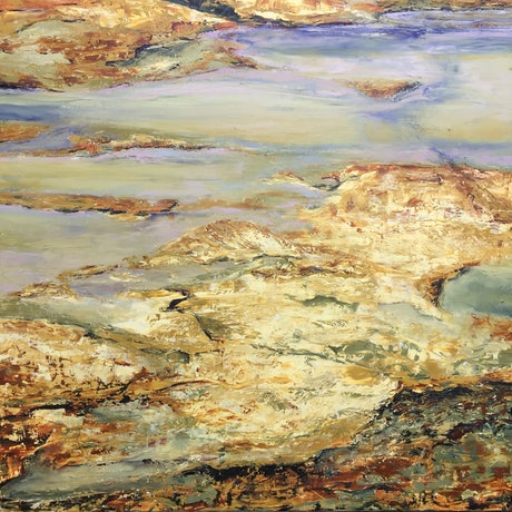 (CreativeWork) Clovelly Rock pools 6 by Catherine Fitz-Gerald. Oil Paint. Shop online at Bluethumb.