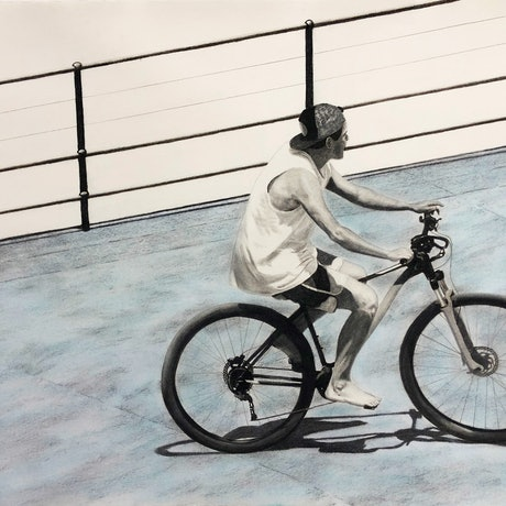 (CreativeWork) Bondi Rider by Ro Geddes. Mixed Media. Shop online at Bluethumb.