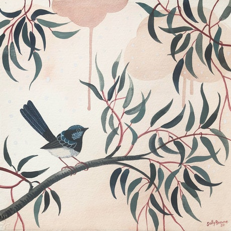 (CreativeWork) Splendid Fairy Wren  Blush Forest Square by Sally Browne. Watercolour Paint. Shop online at Bluethumb.