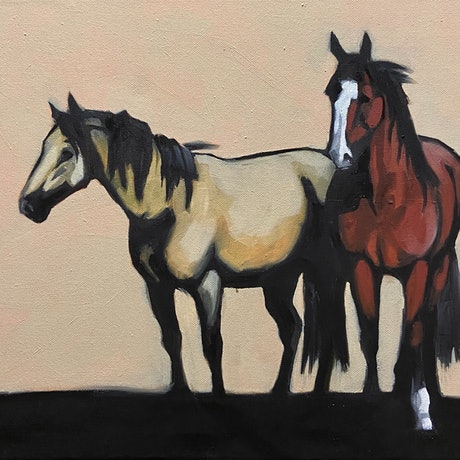 (CreativeWork) Buckskin and Bay by Antoinette Stokell. Oil Paint. Shop online at Bluethumb.