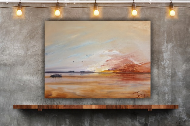 (CreativeWork) Fire sky by Suzy French. Oil Paint. Shop online at Bluethumb.