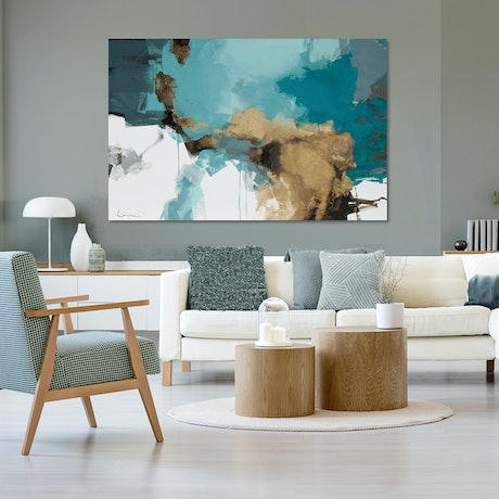 (CreativeWork) Gaia - very large, blue green, grey, gold abstract by Stephanie Laine. Acrylic Paint. Shop online at Bluethumb.