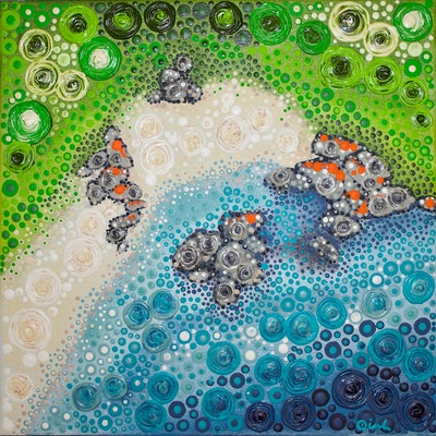 (CreativeWork) Little Beach by Ornella Imber. Acrylic Paint. Shop online at Bluethumb.