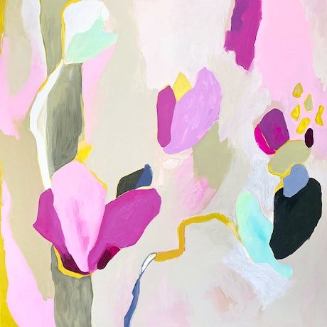 (CreativeWork) Magnolias by Lydie Paton. Mixed Media. Shop online at Bluethumb.