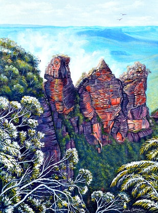 (CreativeWork) Blue Mountains Winter (Framed) by Linda Callaghan. Acrylic. Shop online at Bluethumb.