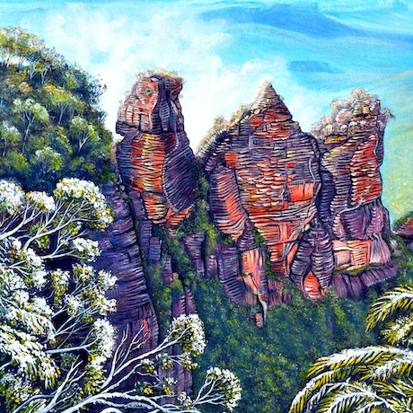 (CreativeWork) Blue Mountains Winter (Framed) by Linda Callaghan. Acrylic Paint. Shop online at Bluethumb.