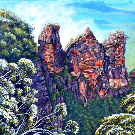 (CreativeWork) Blue Mountains Winter by Linda Callaghan. Acrylic Paint. Shop online at Bluethumb.