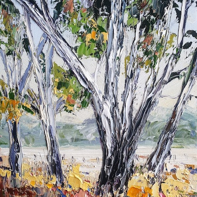 (CreativeWork) Ever Near Me - Landscape by Angela Hawkey. Oil Paint. Shop online at Bluethumb.